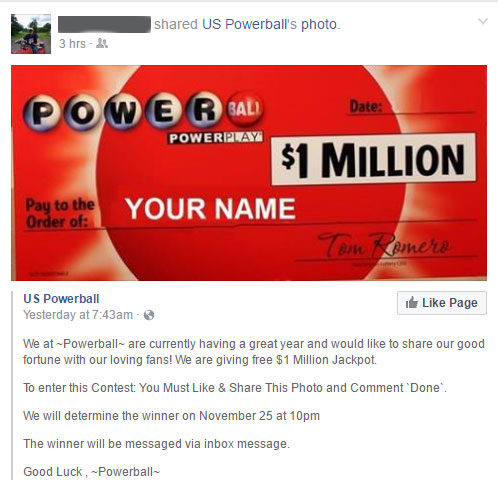 Powerball Hoax Facebook